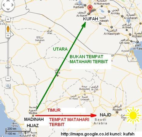 Posisi Najd dan Kufah Iraq terhadap Madinah