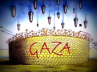 Kartun Hujan Bom di kota Gaza