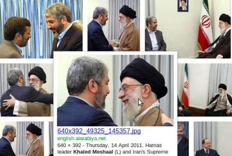 Foto Pemimpin Hamas Khaled Meshaal dan Ali Khamenei