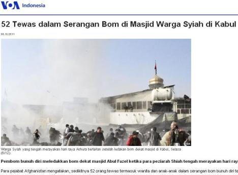 Bom di Masjid Syiah di Afghanistan