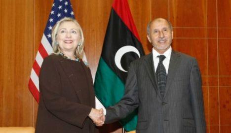 Sekneg AS, Hillary  Clinton dgn Presiden Libya Mustafa Abdel-Jalil