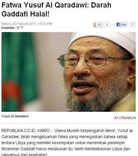 Qaradhawi Bunuh Qaddafi