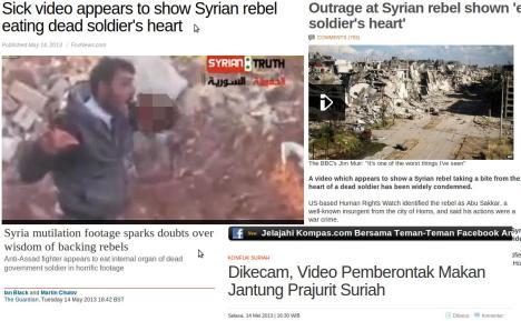 Berita Pemberontak Suriah Makan Daging Tentara Suriah