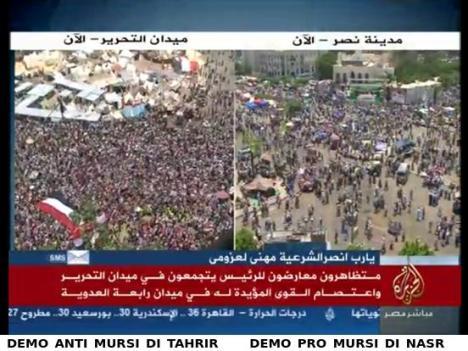 Perbandingan Demo Anti Mursi di Tahrir Square dan Pro Mursi di Kota Nasr