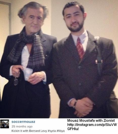 """""""Mujahidin"""" gadungan Mouaz Moustafa bersama zionis Bernard Henry Levy menghancurkan Libya dan Suriah"""