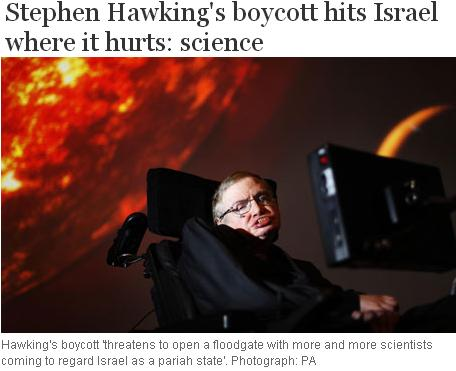 Stephen Hawking boycott Israel