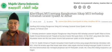 Klarifikasi MUI Tentang Ceramah Syekh Al Azhar